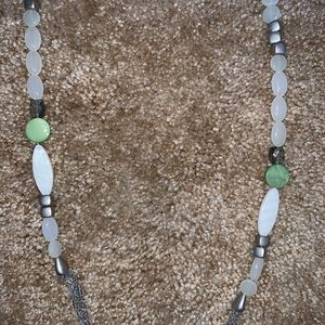 Lia Sophia green, silver, and white necklace